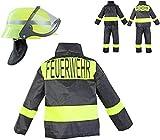 Nerd Clear Feuerwehr Kostüm Set für Kinder | 3-teilig: Helm, Jacke,...
