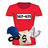 T-Shirt Panzerknacker Kostüm-Set Deluxe+ Cap Maske Karneval Damen XS...