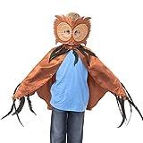 Eulen Umhang Kostüm mit Maske - Eule Kostüm Karneval - 3-8 Jahre alt...