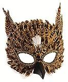 shoperama Maske Eule mit Federn Braun Eulenmaske Tiermaske Halbmaske...