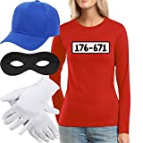 Panzerknacker Kostüm Langarm-Shirt + MÜTZE + Maske + Handschuhe...