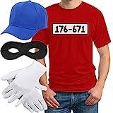 Panzerknacker Banditen Bande Herren Kostüm Shirt + MÜTZE + Maske +...