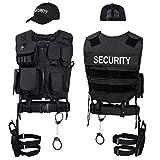 Black Snake SWAT FBI Police Security Kostüm inkl. Einsatzweste,...