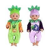 WENTS Kleidung für Puppen 2 Pcs Cartoon Obst Kostüm Set...