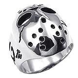 UM Schmuck Edelstahl poliert Herren gotisch Ring Halloween Jason Maske...