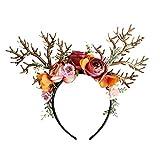Amosfun Rentier Geweih Haarreif mit Blumen Weihnachten Haarschmuck...