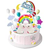 iZoeL Tortendeko Geburtstag Einhorn Kuchen Topper Regenbogen Happy...