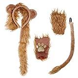 KESYOO Löwen Kostüme Set Löwen Ohren Stirnband Schwanz Handschuhe...