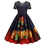 Blingko Damen Kleider Mode Kostüm Kürbis Muster 1950er Jahre...