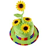 Widmann 2636F - Sonnenblumen Hut aus Samt, Gärtner, Clown