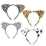 LANMOK Haarreif Tier mit Ohren, Tier Cosplay Kostüm Haarband Leopard...