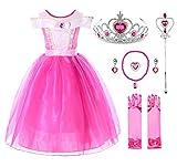 JerrisApparel Mädchen Prinzessin Aurora Kostüm Dornröschen Kleid (6...