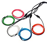 EL-Drähte,JINQIU 5×1M Fünf-Farben Neon EL Wire Draht Leuchtschnur...
