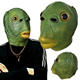 Green Mouth Fish Latexmaske, Adult Funny Ugly Green Fish Head, Latex...
