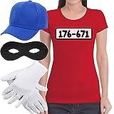 Panzerknacker Banditen Bande Kostüm Shirt + MÜTZE + Maske +...