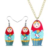 AdronQ® Acryl Matroschka Puppe Ohrringe Halskette Ohrringe Schmuck...