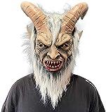 Lucifer Maske mit Hörnern Gruselige Teufel Krampus Masken Halloween...