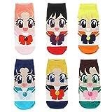 Sneaker Socken Set mit 6 Paar Sneakersocken für Sailor Moon Fans