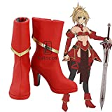 WSJDE Game Fate Apocrypha Saber Mordred Cosplay Shoes Red Boots...
