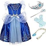 YOGLY Mädchen Prinzessin Elsa Kleid Kostüm Eisprinzessin Set aus...