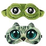 Schlafmaske Augenmaske Schlafbrille Frauen Kinder Herren Damen Frosch...