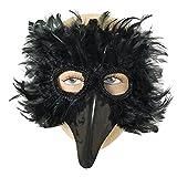 Bristol Novelty EM003 Augenmaske mit Vogel-Federn, Schwarz,...