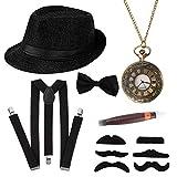HOWAF 1920s Herren Accessoires, 20er Jahre Gangster Kostüm Rockabilly...