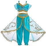Pannow Jasmin Kleid Mädchen, Jasmin Kostüm Kinder mit Perücke...