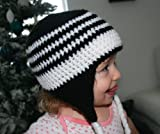 Crochet pattern black and white earflap hat includes 4 sizes from...