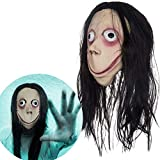Miminuo Horror Maske Momo Latex Vollmaske mit Langer Perücke...