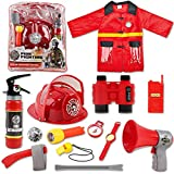 deAO Waschbares Feuerwehrmann-Kostüm-Set mit 13...