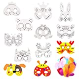 Xiuyer Masken zum Ausmalen, 12 Stück Tiermasken Kinder Weiße...