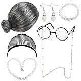 LOPOTIN 7TLG Oma Perücke Kostüm Accessoire Set Oma Brille mit Perlen...