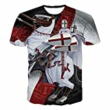 LxUqaq Knights Templar T-Shirt Ritter Templer T-Shirt Kostüm...