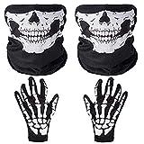 Faburo 2X Schädel Gesichtsmaske mit 1x Skelett Handschuhe Weiße...