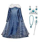 FZCRRDU KOCCAE Mädchen ELSA Kostüm mit Umhang Schneeflocken Kleid...