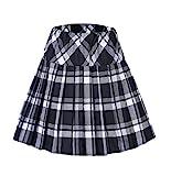Urbancoco Damen Schulmädchen-Stil Tartan Skater Röcke (M, #1 weiß)