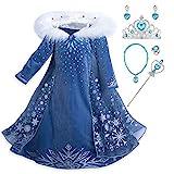 YOSICIL Mädchen Die Eiskönigin ELSA Kostüm mit Umhang Schneeflocken...