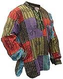 SHOPOHOLIC FASHION, Herren-Hippie-Hemd, stonewashed, mit bedruckten...