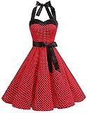 DRESSTELLS Damen Valentinstag Kleid Neckholder Rockabilly 1950er Polka...