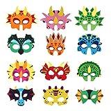 Dinosaurier Masken,12 Stück Dinosaurier Filz Masken,Masken Cosplay...