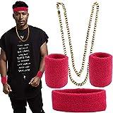 FLOFIA Neon Schweißbänder Set, Rapper Kette Gold Gangster Kette...