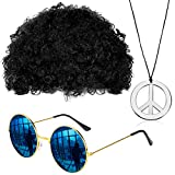 Gejoy Hippie Kostüm Set Mode Afro Perücke Sonnenbrille Frieden...