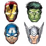 Procos 87976 - Papier-Masken Mighty Avengers, 6 Stück, Größe 22 x...