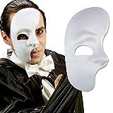 Amakando Weiße Phantommaske Halbes Gesicht Maske Kunststoff Phantom...