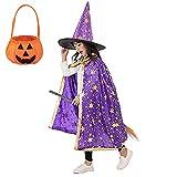 AtRenty Zauberer Umhang mit Hut Kürbistasche für Kinder Halloween...