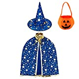 Jackcell Kinder Halloween Kostüm, Wizard Cape Witch Umhang mit Hut,...