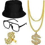 Gejoy Hip Hop Kostüm Kit Eimer Hut Sonnenbrille Gold Kette Ring 80/...