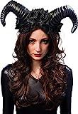 Orlob Teufelshörner mit Blumen - Schwarz - Haarreif perfekt zum Böse...