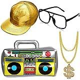 4 Stück Set Hip-Hop Kostüm Set, Hip Hop Kostüm Golden Baseball...